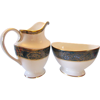 Royal Doulton China Carlyle Cream Jug and Open Sugar Bowl