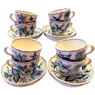 Meissen Blue Onion Demitasse Cups and Saucers Eight Sets