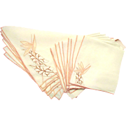 Set of Eight Embroidered Ecru Linen Placemats and Napkins