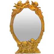 Victorian Gilt Metal Beveled Glass Vanity Mirror Cherubs Putti Angels