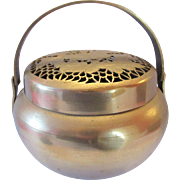 Antique Chinese Paktong Hand Warmer, Finely Pierced Cover with Flowers
