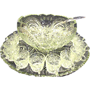 Large EAPG Slewed Horseshoe Radiant Daisy Punch Bowl, Ladle, Cups and Tray