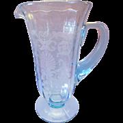 Fostoria Blue Versailles Etched 48 Ounce Pitcher Elegant Depression Glass