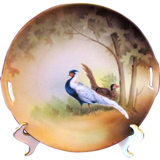 RS Germany Pierced Handles Pheasant Cake Plate