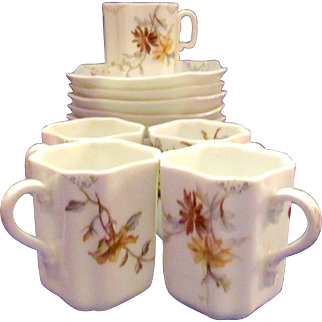Antique Haviland Limoges Wildflower Napkin Fold Demitasse Cups and Saucers