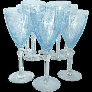 """Fostoria Azure Blue Versailles 5.5"""" Wine Goblets - 8"""