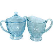 Fostoria Azure Blue Versailles Sugar Bowl With Lid And Creamer