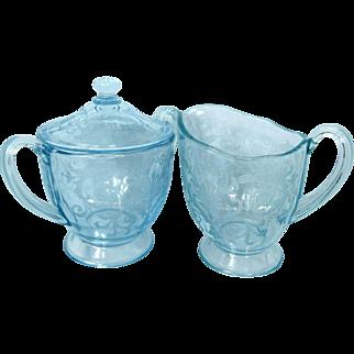 Fostoria Azure Blue Versailles Sugar Bowl With Lid And Creamer