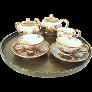 Meiji Era Japanese Satsuma Signed Miniature Tea Set The Immortals