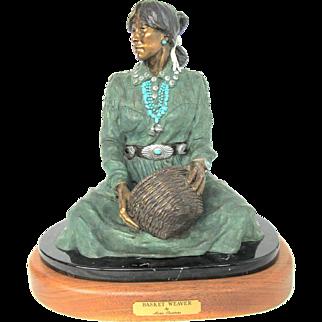Marie Barbera Native American Basket Weaver Bronze Sculpture 3/30