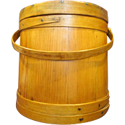 Large Folk Art Wood Firkin Sugar Bucket Original Green Paint Under Varnish