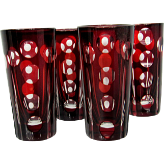 Bohemian Czech Ruby Cut to Clear Shot Glasses