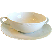 Haviland Limoges White Ranson Cream Soup Bowl and Stand