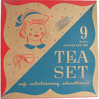 Ohio Art Tin Litho Nine Piece Tea Set In Original Box