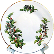 "Boehm Chickadees and Holly 10 3/4"" Porcelain Dinner Plate England"