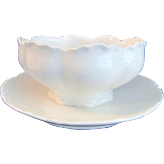 Haviland Limoges White Ranson Mayonnaise With Attached Underplate