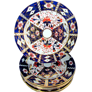 Seven Traditional Imari 6 Inch Bread Plates Unmarked