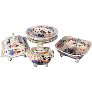 Grainger Lee and Co Blue Ball Japan Imari Dinnerware 37 Pcs c1825