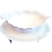 Haviland Limoges Ranson White Gravy Sauce Boat Attached Underplate