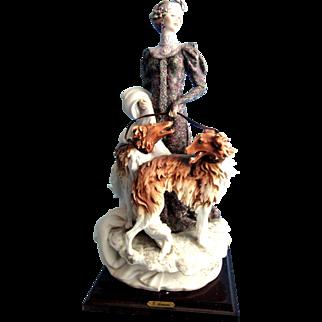 Giuseppe Armani Figurine 1122 Lady With Borzoi Dogs 1985