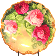 "Lazeyras Rosenfeld & Lehman (LRL) Limoges 12"" Charger Hand Painted Roses Signed"