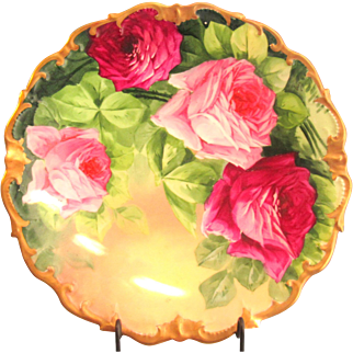 "Lazeyras Rosenfeld & Lehman (LRL) Limoges 12"" Charger Hand Painted Roses Signed"