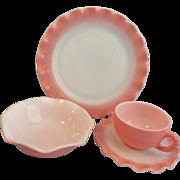 Pink and White Crinoline Ruffle Hazel Atlas Dinnerware Set 36 Pieces
