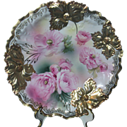 RS Prussia Carnation Mold Plate W Gilded Carnations and Pink Poppies 8.5 Inches