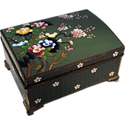 Japanese Inaba Cloisonne Music Box Floral Decoration on Green Ground