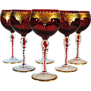 Set of 6 Red Venetian Glass Wines with Gold Hand Painted Faces