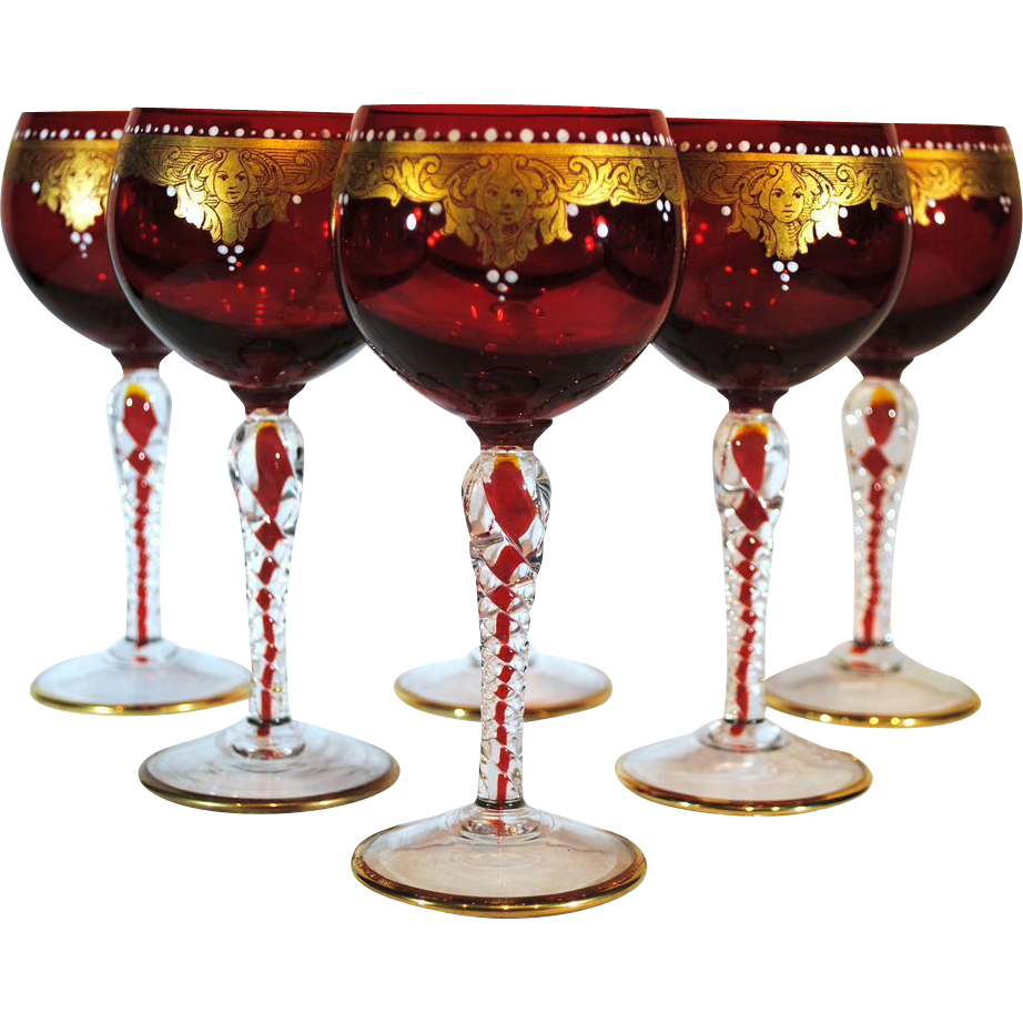 Set Of 6 Red Venetian Glass Wines With Gold Hand Painted