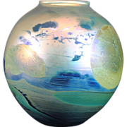 John Lewis Contemporary Studio Art Glass Moonscape Vase 1976