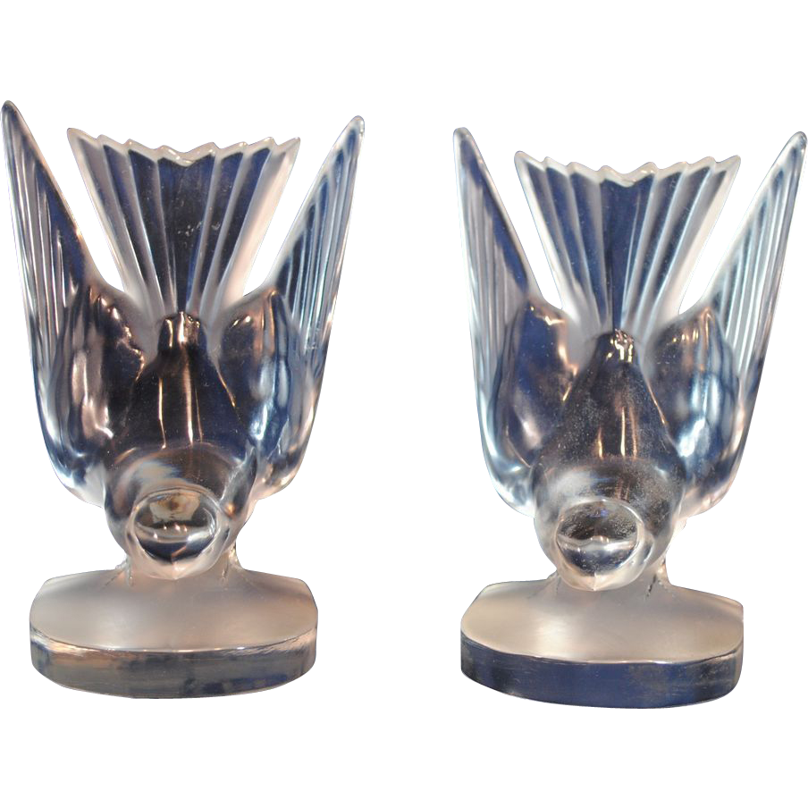 Pair Of Lalique Frosted Art Glass Hirondelle Bird Bookends Sold Ruby Lane