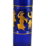 Val St Lambert Art Glass Danse de Flore Cobalt Blue Bud Vase