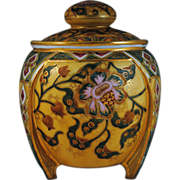 Nippon Humidor or Cracker Jar with Art Deco Stylized Floral Decoration
