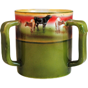 Royal Bayreuth 3 Handle Loving Cup Mug with Cow Decoration