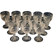 Set of 12 Cut Crystal Water Goblets or Wine Glass Stems Stemware