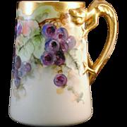 Lenox Belleek Hand Painted Grape Decoration Mug with Dragon Handle
