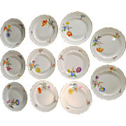 11 Meissen Porcelain Floral Decorated Dessert Plates
