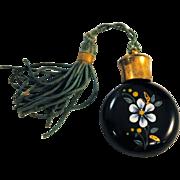 Miniature Enamel Victorian Art Glass Perfume Bottle