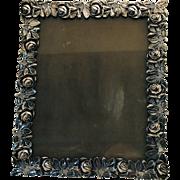 Vintage Rose Border Silver Plate Easel Back Photo Picture Frame