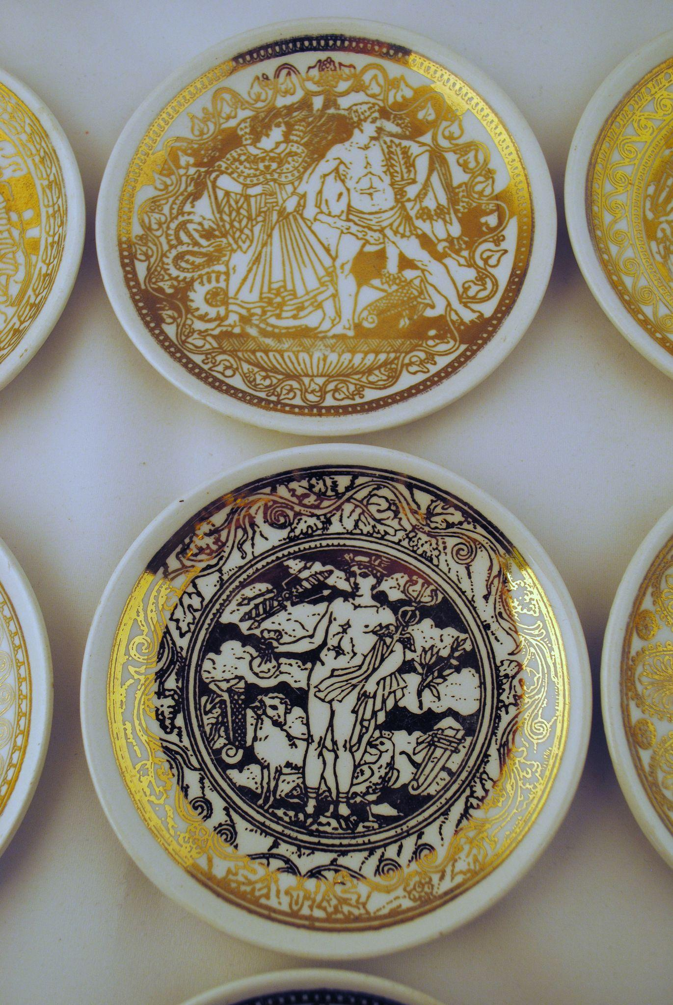 7 fornasetti mitologia coasters bonwit teller from. Black Bedroom Furniture Sets. Home Design Ideas