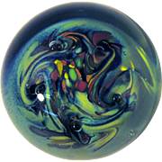 Dominic Labino Multicolor Swirl Contemporary Art Glass Paperweight 1971