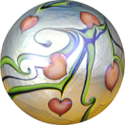 Orient and Flume Iridescent Art Glass Paperweight  Red Hearts with Blue and Green Vines