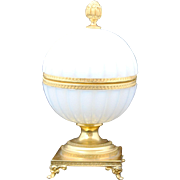 Round Mellon Ribbed French White Opaline Glass Hinged Trinket Box or Jewelry Casket or Jar