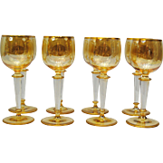 Set of 8 Bohemian Glass Rhine Wine Stemware with Air Twist Stems and Yellow Luster Finish