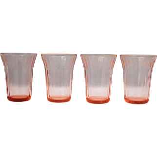 4 Pink Depression Glass Cherry Blossom 4.25 inch 9 oz. Flat Tumblers