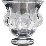 Lalique Dampierre Art Glass Vase with Birds or Sparrows