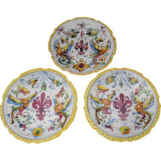 3 Italian Majolica Plates with Fleur de Lis and Griffins