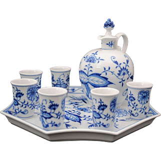 Meissen Blue Onion Liqueur Sherry Cordial Decanter Set with Tray & Glasses